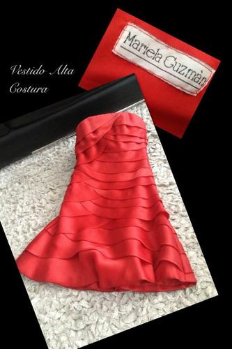 vestido rojo de fiesta strapless $200