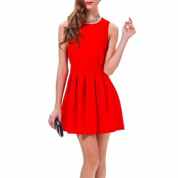 Vestido Rojo De Para Fiesta Coctel Boda Talla S Y M S90