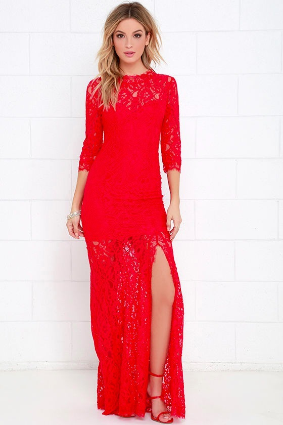 3b2bba3ff049 Vestido Rojo Encaje Largo Compromisos, Fiestas S/. 150