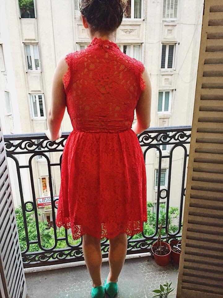 vestido rojo encaje saks 5th ave. corto. importado. Cargando zoom. ff91324e0151