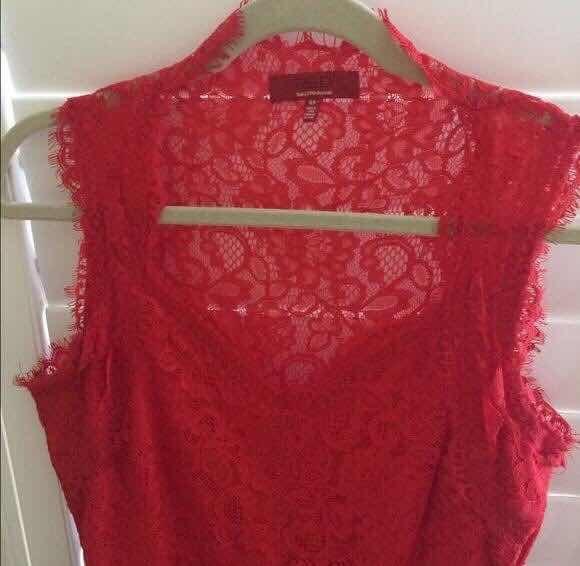 Vestido Rojo Encaje Saks 5th Ave. Corto. Importado -   800 3f01ecc8a9e8