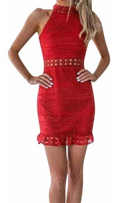 Vestido Rojo Encaje Sin Mangas Cuello Alto Mujer Sexy