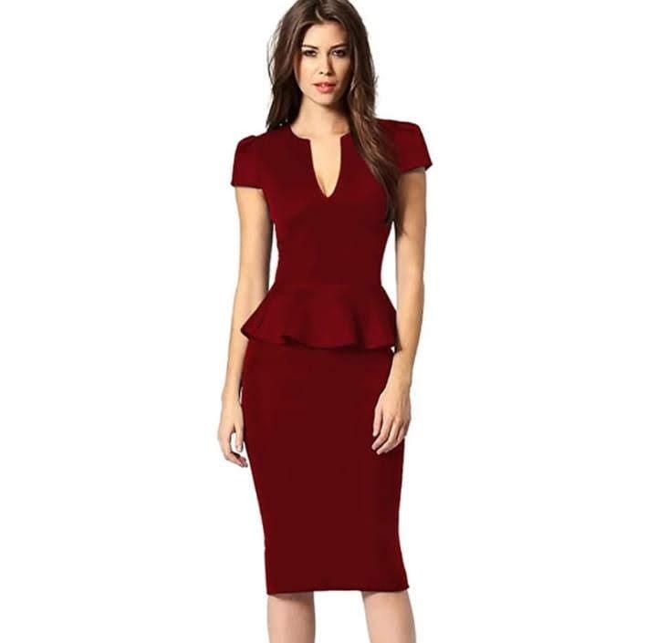 87726c617a Vestido Rojo Entallado -   750.00 en Mercado Libre