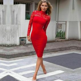 Vestido Rojo Estilo Fourreau Encaje Boda Coctel Grados
