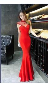 el precio más baratas ropa deportiva de alto rendimiento mejor precio Vestido Rojo Fashion Estilo Sirena Fiesta Grados Boda Cóctel