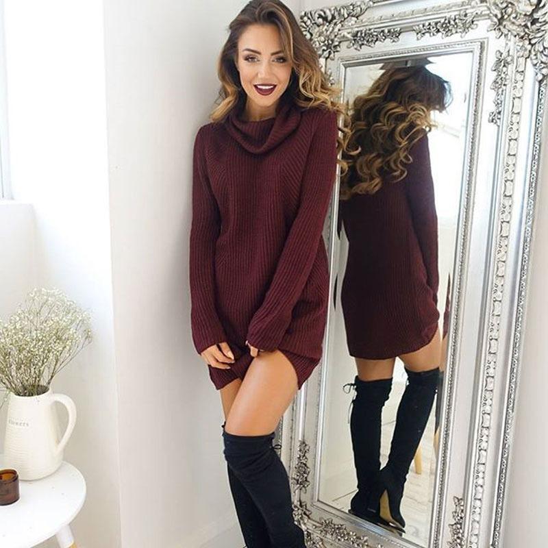 cómo hacer pedidos últimas tendencias de 2019 Productos Vestido Rojo Fashion Suelto Manga Larga Cuello Alto Mujer