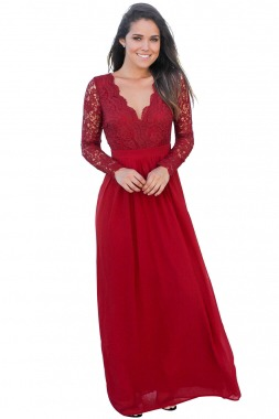 Vestido Rojo Fiesta Encaje Y Chiffon Ropa Dama