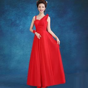 Vestido Rojo Graduación Largos Tira Decorativa Elegante Tres