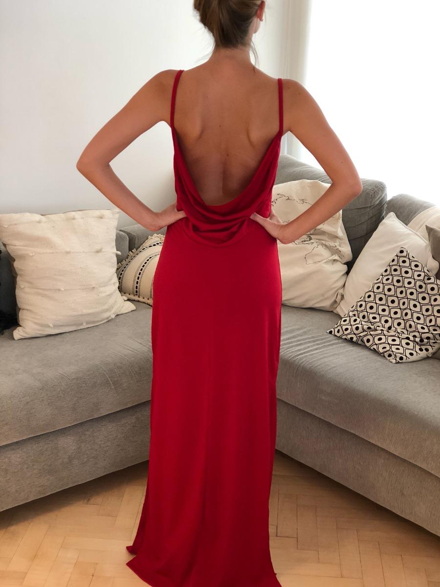 49697d96ea64 Vestido Rojo Largo Fiesta Casamiento Con Espalda Y Tajo