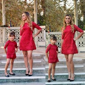 7adffeb19918 Vestido Rojo Madre E Hija Family Elegante Formal Disponible