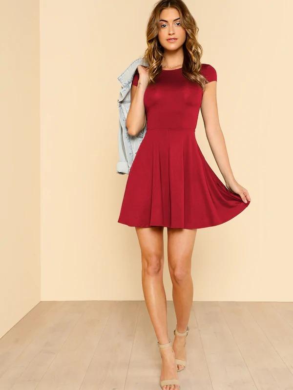 Vestido Rojo Manga Corta Basico Vestidos Casuales Ropa Mujer
