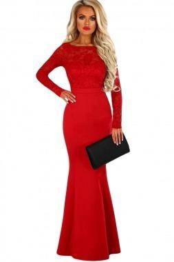 vestido rojo manga larga largo fiesta encaje moderno boda