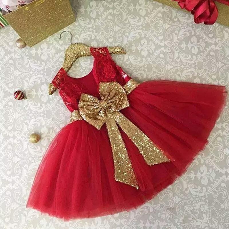 d83b4cd03 Vestido Rojo Para Niña Con Moño Dorado Fiesta Cumpleaños