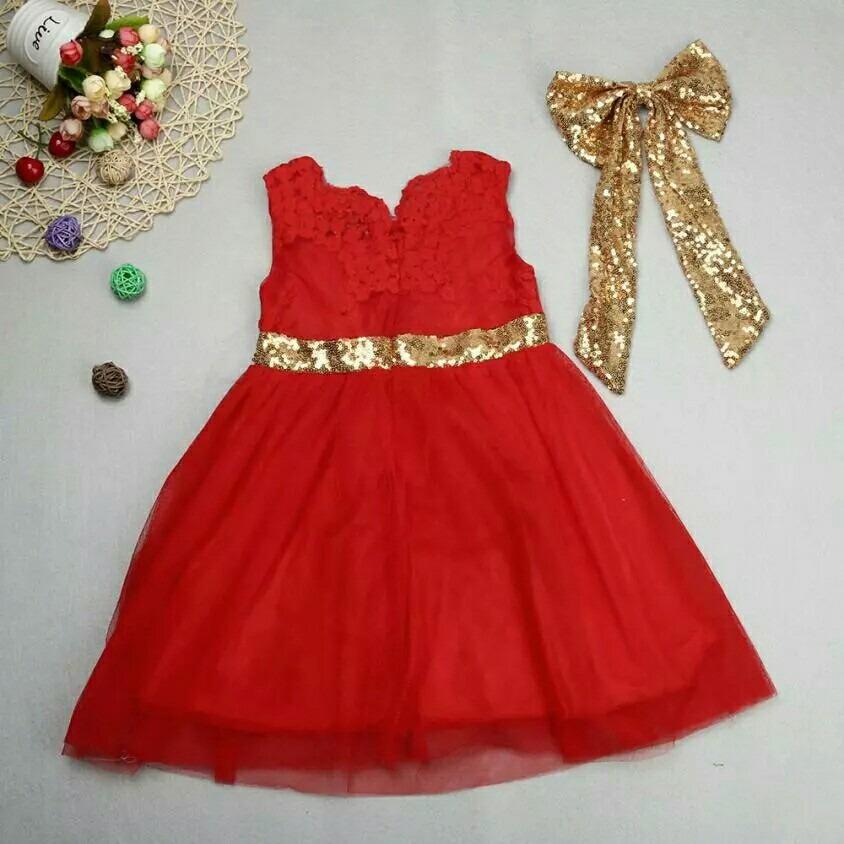 Vestido Rojo Para Niña Con Moño Dorado Fiesta Cumpleaños