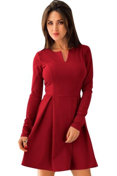 Vestido de fiesta rojo manga larga
