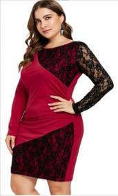 955cec2bb0 Vestido Rojo Y Negro Encaje En Licra 2 3xl Grande Especial