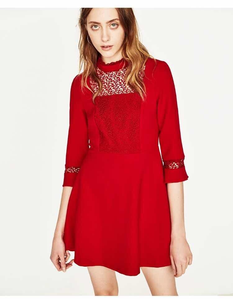 aa81d572e vestido rojo zara guipur elegante talle s abrigado. Cargando zoom.