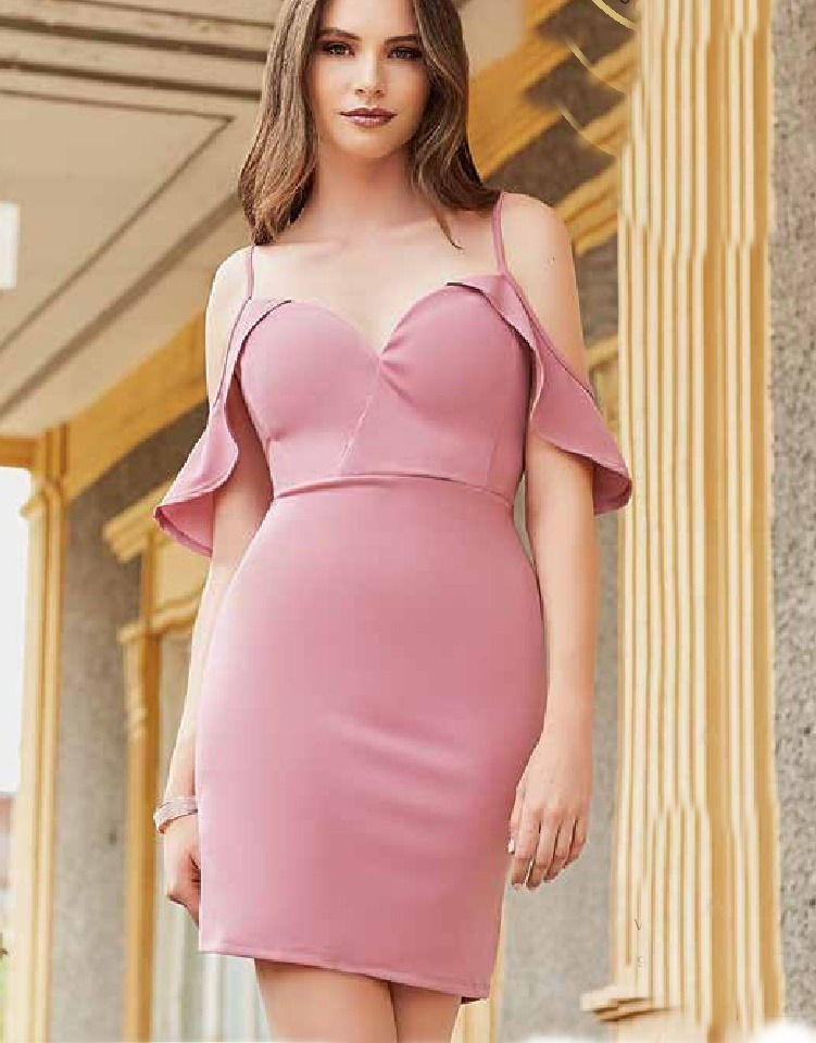 Vestido Rosa Corto Con Olanes En Los Tirantes Sexy Fiestas ...