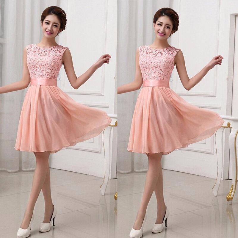 7134de6aa vestido rosa fashion bordado chiffon+lace fiesta grados cock. Cargando zoom.