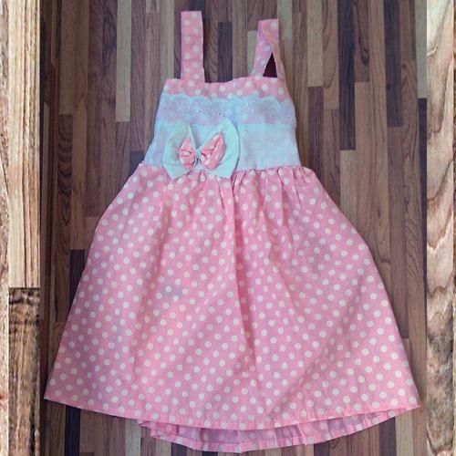 vestido rosa festa infantil c/ laço de bolinha em oferta