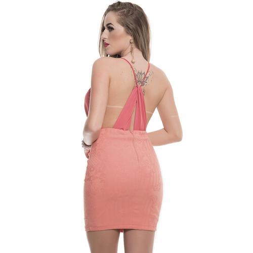 vestido rosa fina tubinho fluit e jacquard