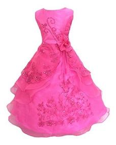 Vestido Rosa Fiusha 4 A 14 Años Niñas Fiesta Boda Graduacion