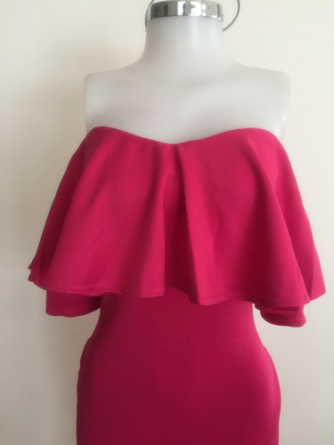 vestido rosa fiusha olanes moderno sin hombros fiesta midi