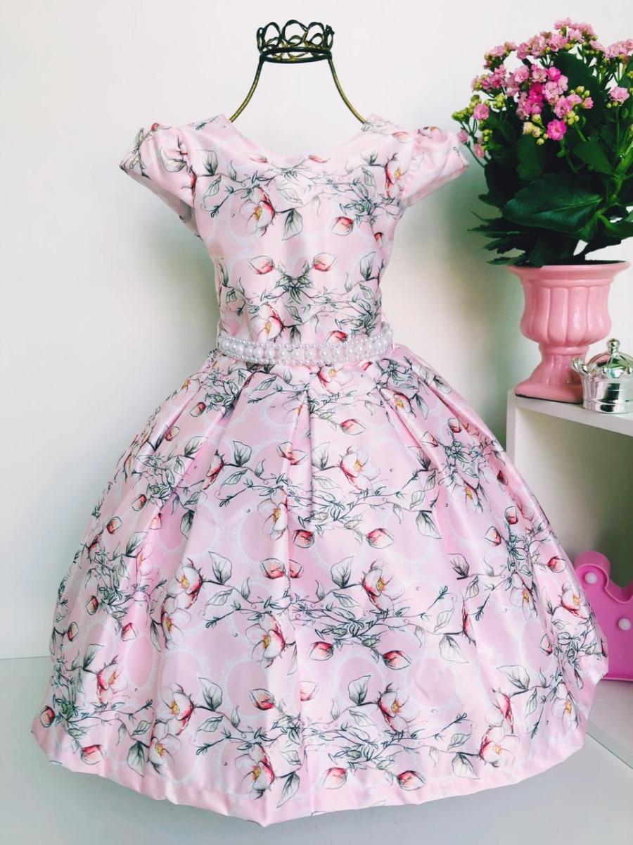 d8627ffea3 vestido rosa infantil luxo floral princesa festa aniversário. Carregando  zoom.