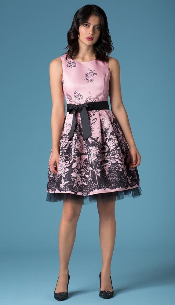 Vestido Rosa Negro Floral Ivonne Bloom Mediano Petite