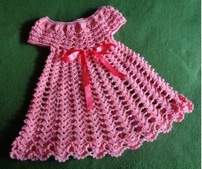 Vestido Rosa Para Bebé Tejido A Crochet En Hilo Perlé