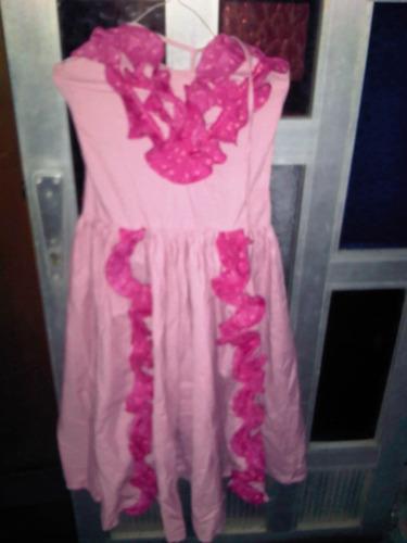 vestido rosado de tiras para flamenco