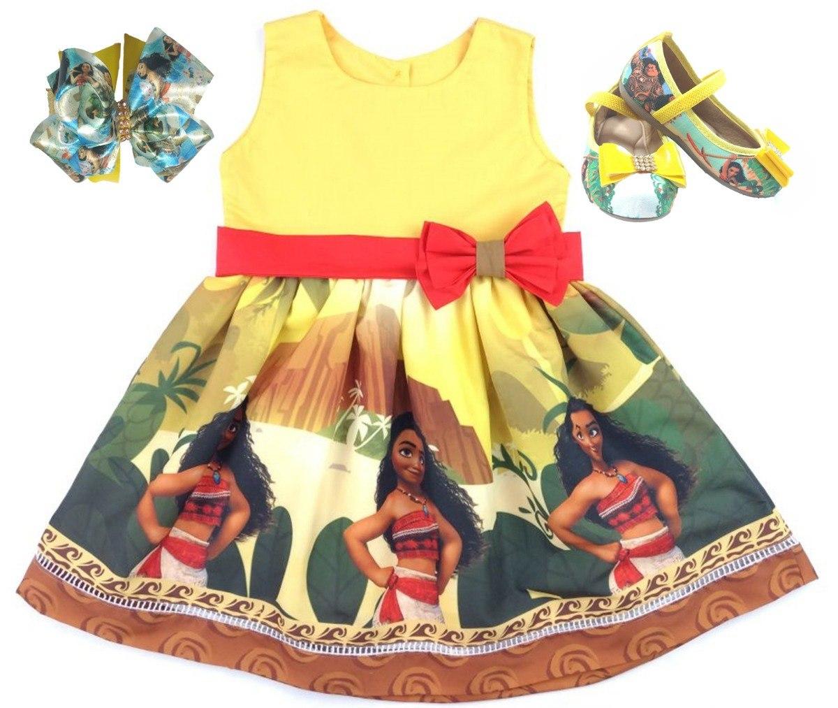 38395dd80b vestido roupa infantil tema moana + sapatilha+laço 1-6 anos. Carregando  zoom.