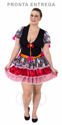vestido saia caipira festa junina adulto junino p m g xg gg