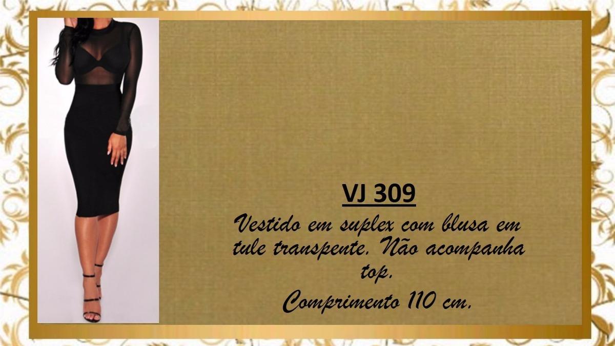 d974ffd75 Vestido Saia Justa Midi Suplex Blusa Tule Transparente Vj309 - R ...