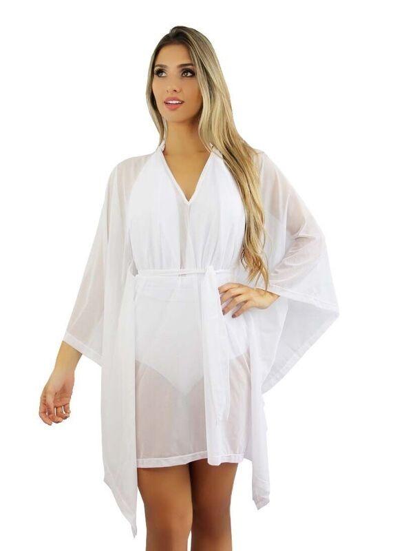 d38076cda Vestido Saída De Praia Branca Pronta Frete Gratis A2 - R$ 130,00 em ...
