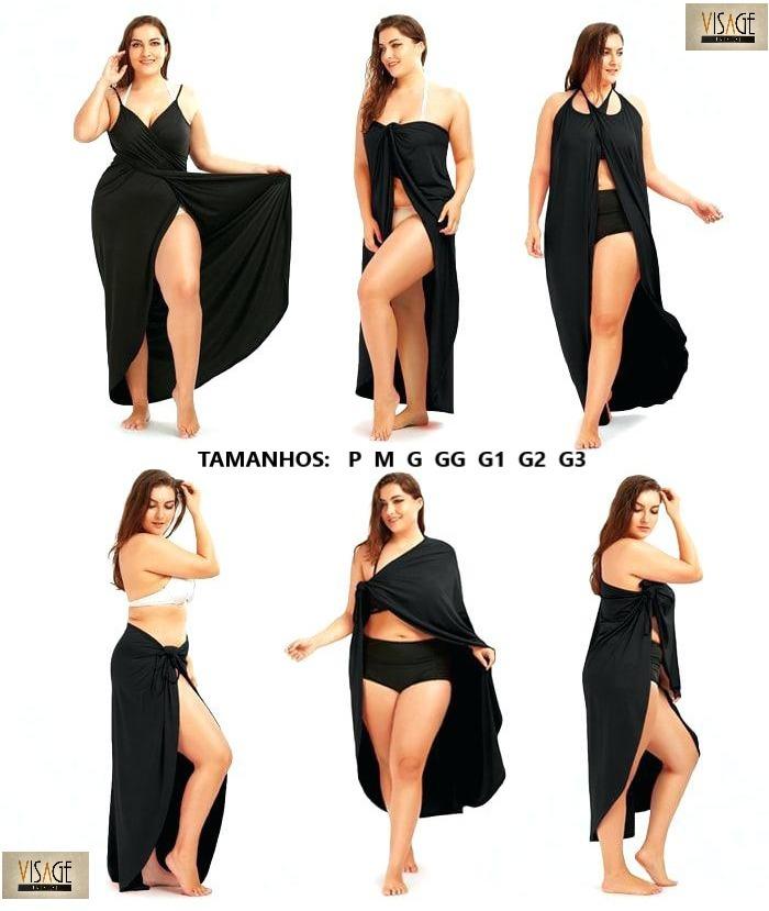 88218d6fd87 Vestido Saída De Praia Plus Size Longo Moda Feminina, Roupas