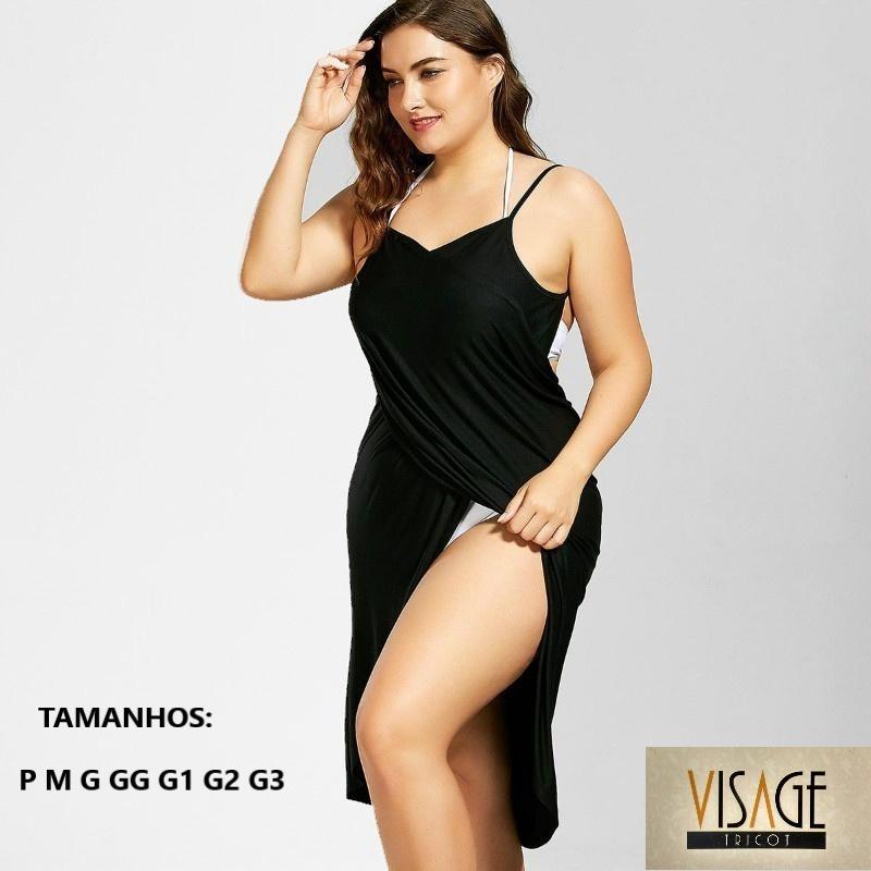 ec0be4c76ef Vestido Saída De Praia Plus Size Moda Feminina, Roupas Midi