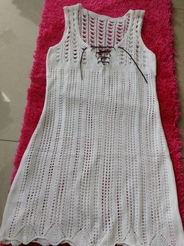 vestido saída de praia tricot decote cordão preço de atacado