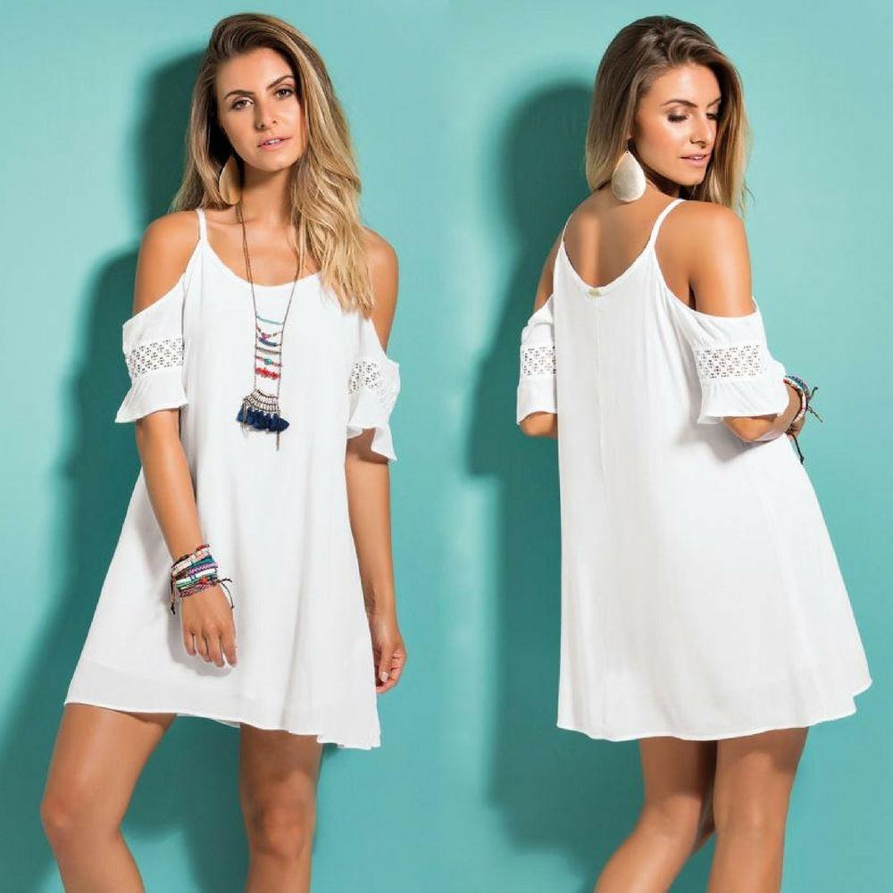 67fb23a299 vestido saída praia branco renda na manga promoção barato. Carregando zoom.