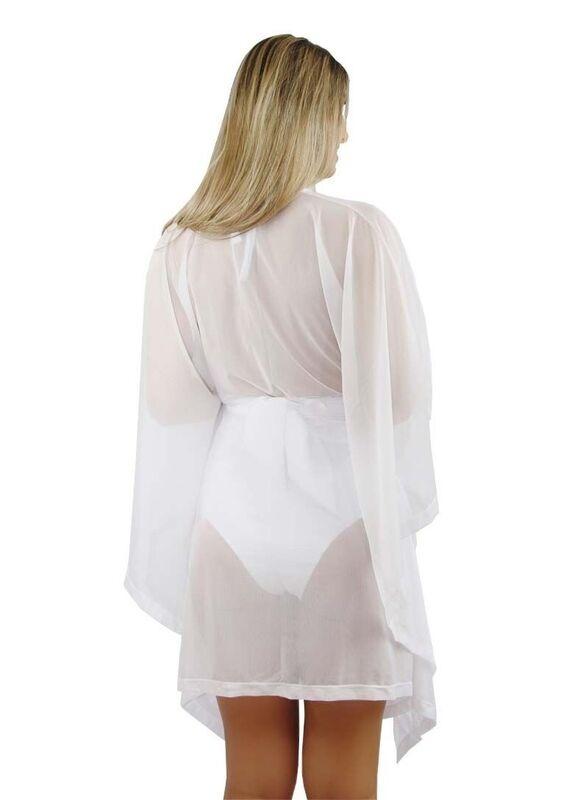 6b4bc3250 Vestido / Saida Praia Leve Branco Transparente A2 - R$ 130,00 em ...