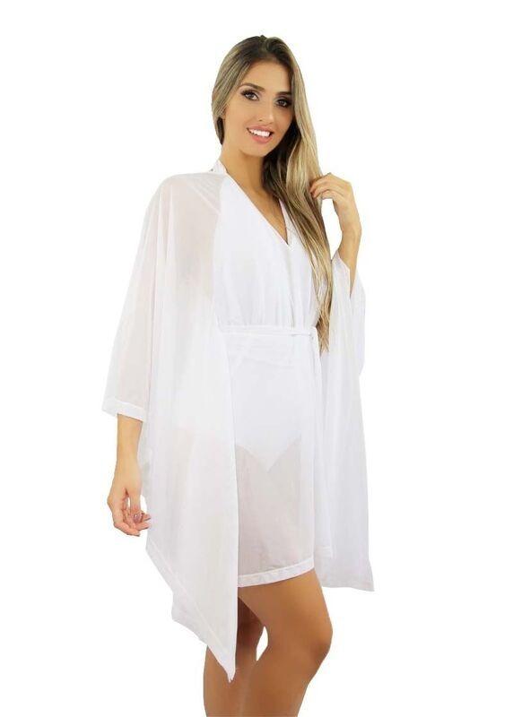 672e924ff Vestido / Saida Praia Leve Branco Transparente A2 - R$ 130,00 em ...