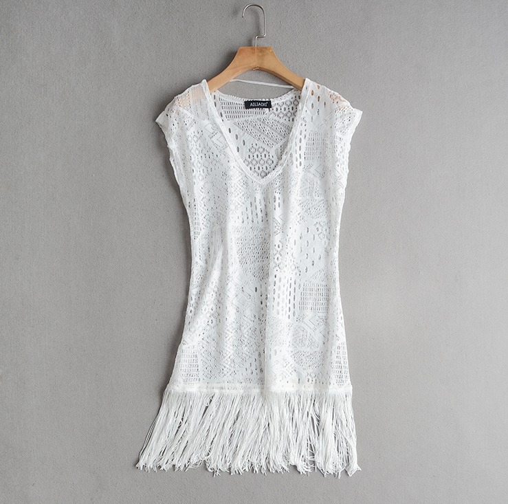 6ff5517cd5 Vestido Saída Praia Renda Branca Com Franja Decote Importado - R  99 ...