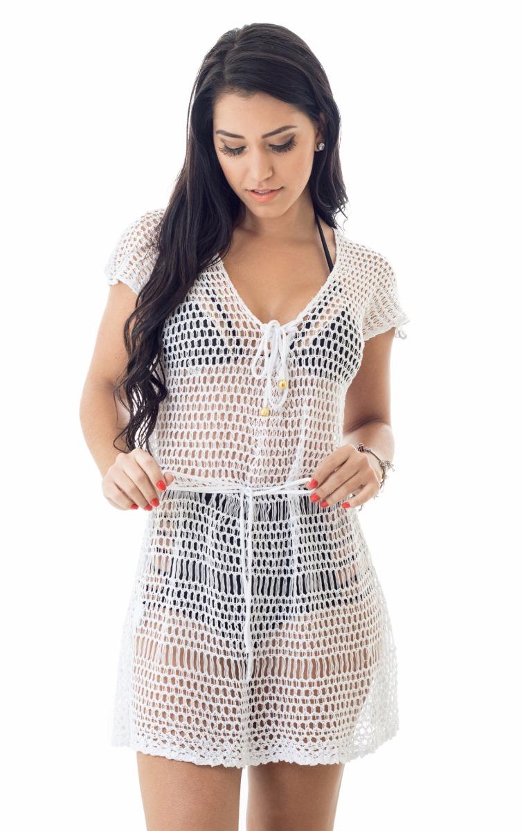 fea5721b65 vestido saida praia tricot decote cordão preço de atacado. Carregando zoom.