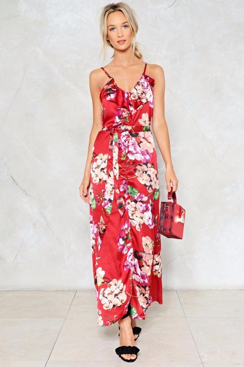 Vestido Saten Cruzado Volados Fiesta Noche Rojo - $ 1.250,00 en ...