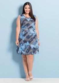 a58fef09cdd42d Vestido Sem Mangas Geométrico Marguerite Plus Size