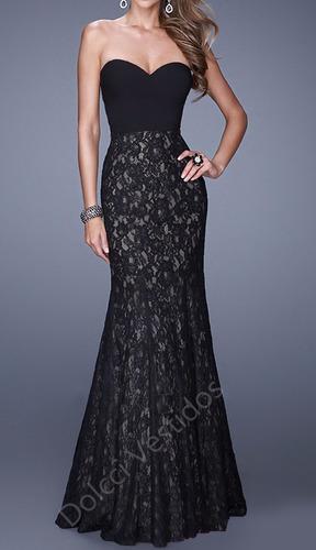 vestido sereia longo de festa, em renda e neoprene d075