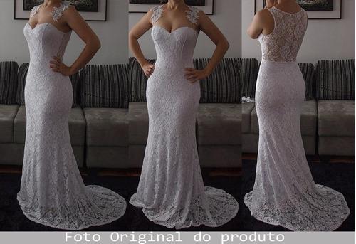 vestido sereia longo de festa/noiva em renda g039