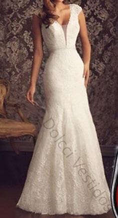 vestido sereia longo festa noiva renda, decote em tule d045l