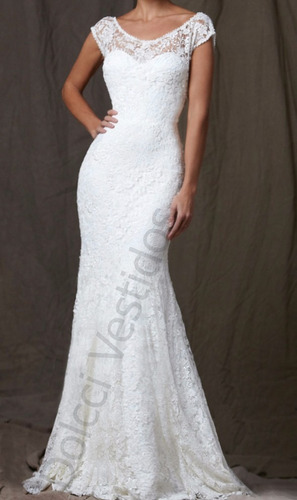vestido sereia longo festa/noiva em renda, alças largas d046