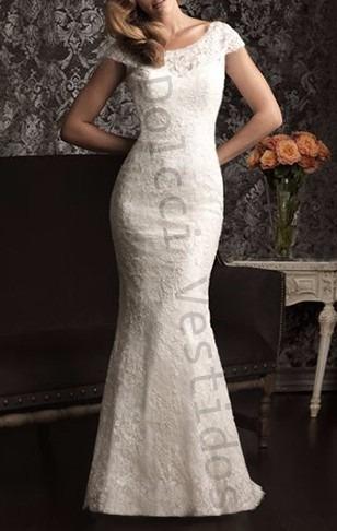 vestido sereia longo renda noiva casamento, meia manga d036l